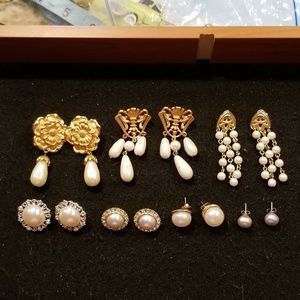 Avon Lot of 7 pair Pearl Earrings